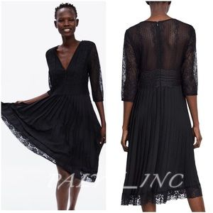 ❤️❤️ZARA CONTRASTING PLEATED DRESS WITH LACE